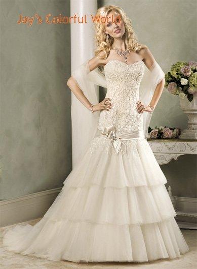 Mermaid V-neckline Strapless Beading Custom made Wedding Dress Bridal Gown