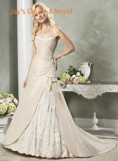 Newly Strapless Appliques Beading Taffeta Custom made Wedding Dress Bridal Gown