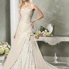 Newly Strapless Appliques Beading Taffeta Custom made Wedding Dress Bridal Gown