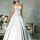 A-line Straight Neckline Strapless Beading Custom made Wedding Dress Bridal Gown