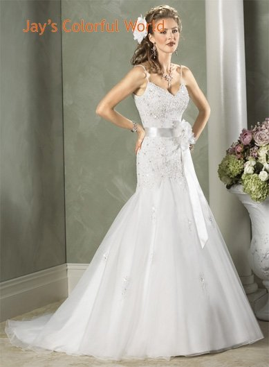 A-line V-neckline Spaghetti Strap Beading Organza Custom made Wedding Dress Bridal Gown