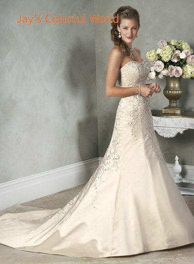 A-line Scoop Neckline Embroidery  Beading Train Custom made Wedding Dress Bridal Gown