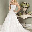 Fashion A-line Strapless Appliques Beading Tuller Custom made Wedding Dress Bridal Gown