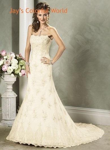 Scoop Neckline Strapless Lace Sweep Train Custom made Wedding Dress Bridal Gown
