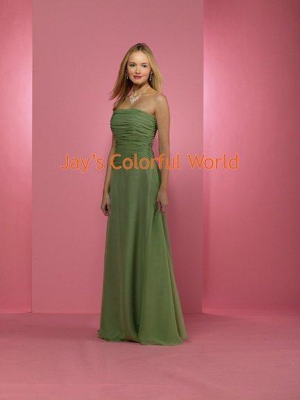 Kiwi Floor Length Straight Neckline Bridesmaid Dress/Evening Dress/Home Coming