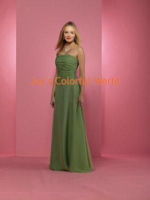 Kiwi Floor Length Straight Neckline Bridesmaid Dress/Evening Dress/Home Coming