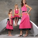 Pink and Black V-neckline Bridesmaid Dress/Evening Dress/Home Coming