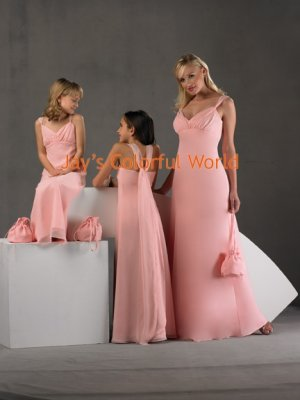 Sexy Pink Deep V-neckline Custom-made Chiffon Bridesmaid Dress/Evening Dress/Home Coming