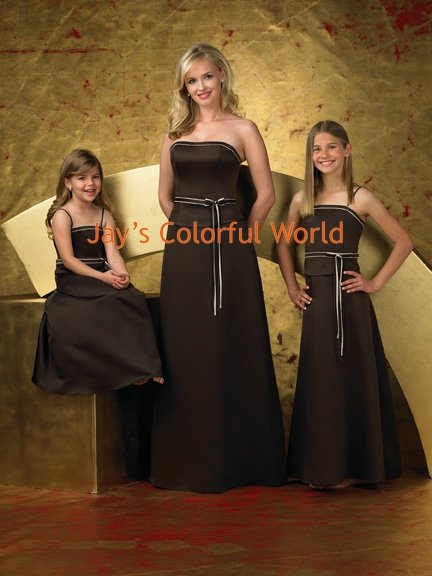 Black Strapless or Spaghetti Strap Custom-made Bridesmaid Dress/Evening Dress/Home Coming