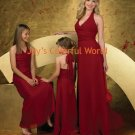 Custom-made Burgundy Halter Strap Bridesmaid Dress/Evening Dress/Home Coming