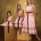 Custom-made Baby Pink Tea-length Bridesmaid Dress/Evening Dress/Home Coming