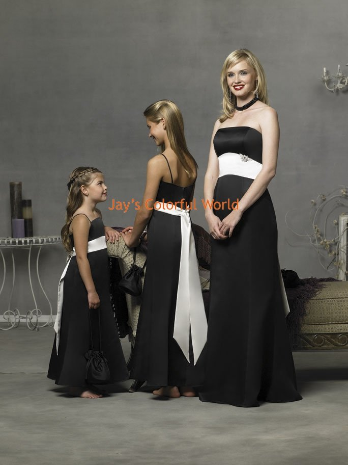 White and Black Strapless or Spaghetti Strap Bridesmaid Dress/Evening Dress/Home Coming