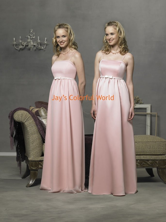 Pink Spaghetti Strap Straight Neckline Satin and Chiffon Bridesmaid Dress/Evening Dress/Home Coming