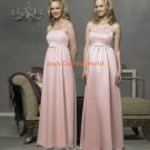 Pink Spaghetti Strap Straight Neckline Satin and Chiffon Bridesmaid Dress/Evening Dress/Home Coming
