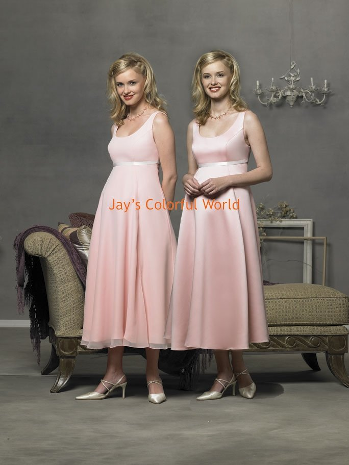 Pink T-length Scoop Neckline Cap Sleeve Satin and Chiffon Bridesmaid Dress/Evening Dress/Home Coming
