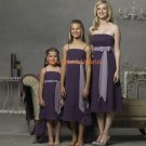 T-length Strapless or Spaghetti Strap Satin and Chiffon Bridesmaid Dress/Evening Dress/Home Coming