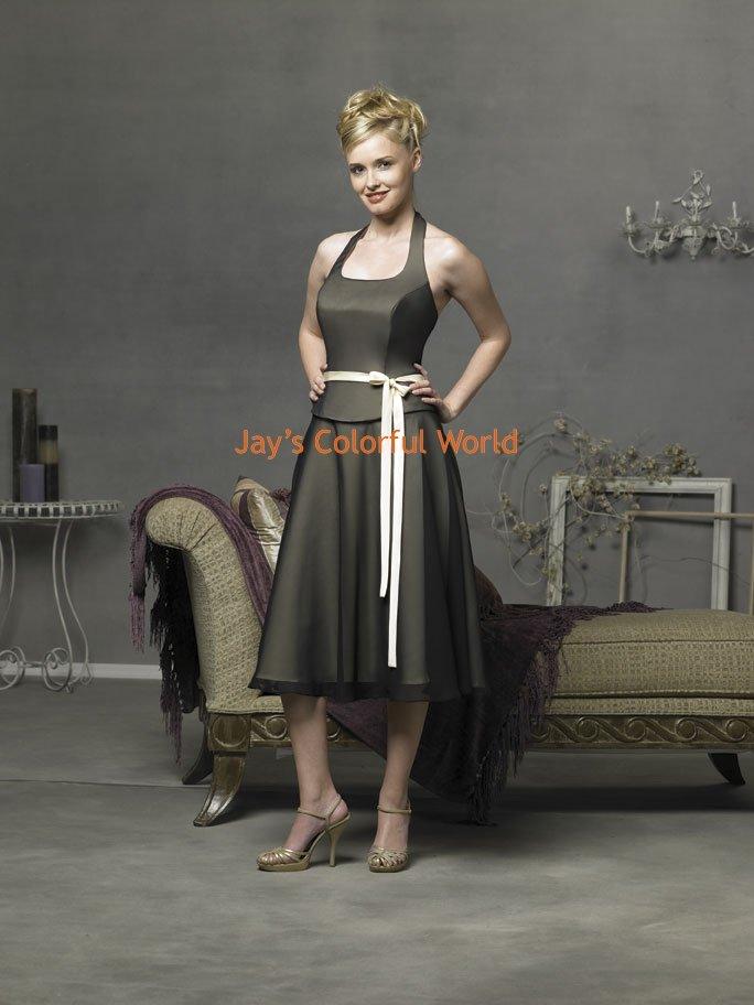 Tea-length Halter Strap Custom-made Bridesmaid Dress/Evening Dress/Home Coming