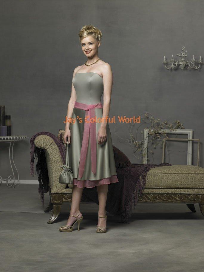 Tea-length Strapless Custom-made Bridesmaid Dress/Evening Dress/Home Coming