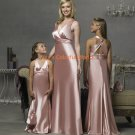 Pink Deep V-neckline Floor-length Custom-made Bridesmaid Dress/Evening Dress/Home Coming