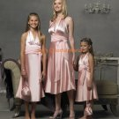 Pink V-neckline Tea-length Custom-made Bridesmaid Dress/Evening Dress/Home Coming