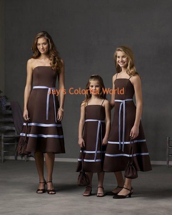 CoffeeTea-length Strapless or Spaghetti Strap Custom-made Bridesmaid Dress/Evening Dress/Home Coming