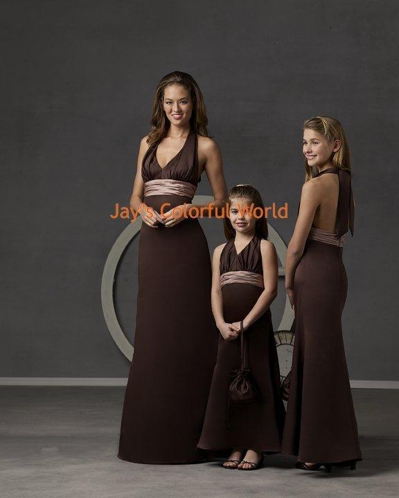 Coffee V-neckline Satin and Chiffon Custom-made Bridesmaid Dress/Evening Dress/Home Coming