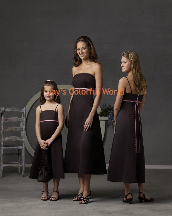 Tea-length Strapless or Spaghetti Strap Custom-made Bridesmaid Dress/Evening Dress/Home Coming
