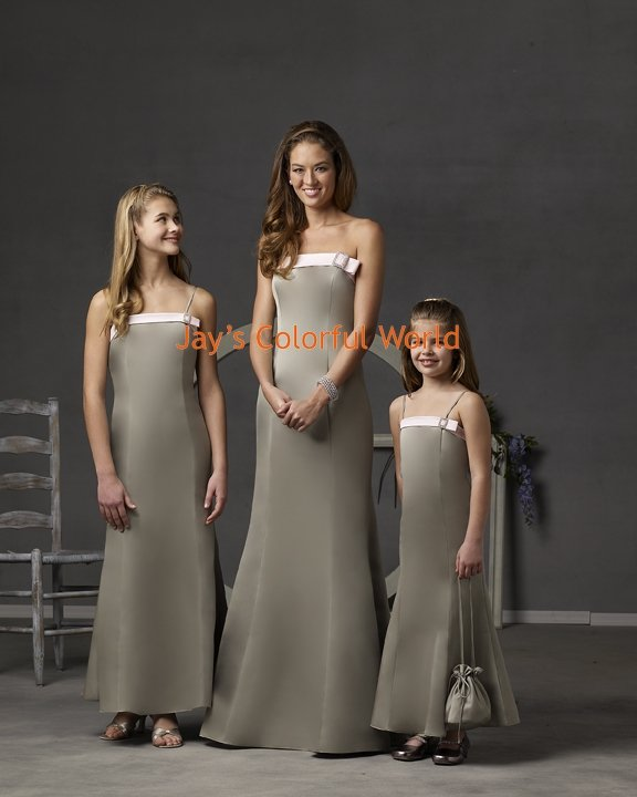 Gray Strapless or Spaghetti Strap Custom-made Bridesmaid Dress/Evening Dress/Home Coming