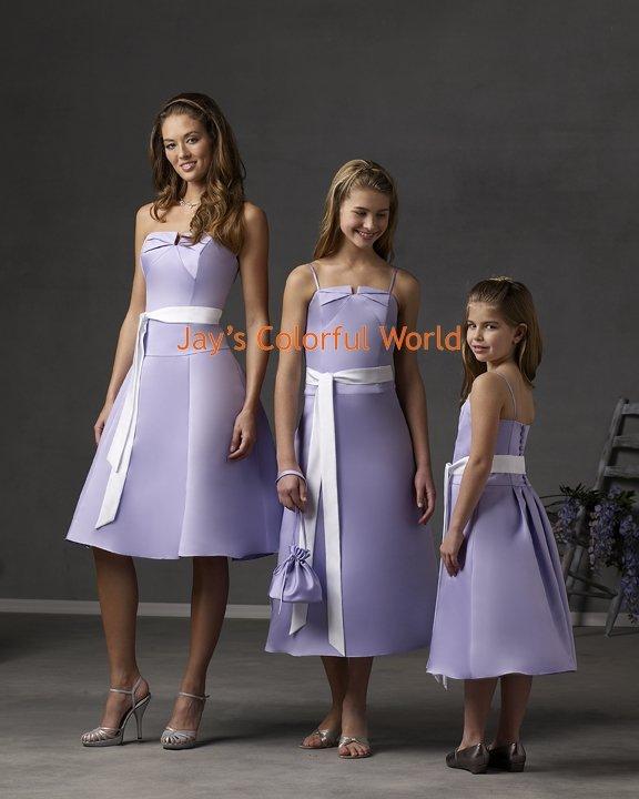 Lavender Tea-length Custom-made Bridesmaid Dress/Evening Dress/Home Coming
