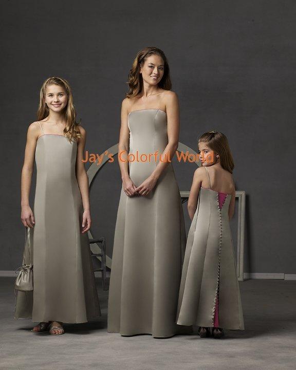 Floor-length Strapless or Spaghetti Strap Custom-made Bridesmaid Dress/Evening Dress/Home Coming
