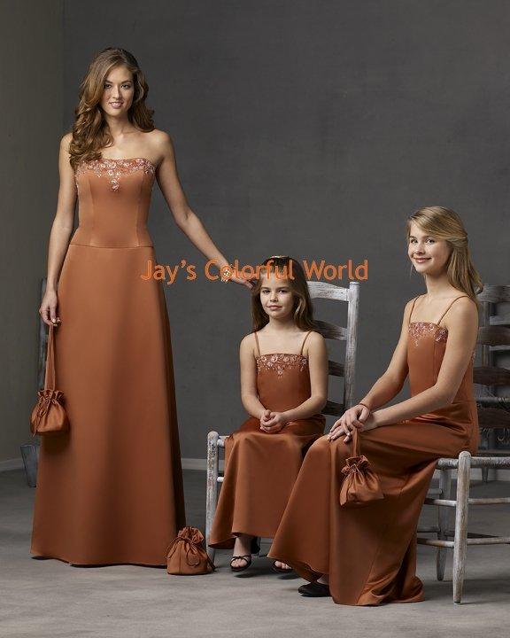 Brown Scoop Neckline Bridesmaid Dress/Evening Dress/Home Coming