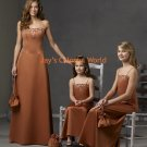 Brown Scoop Neckline Bridesmaid Dress/Evening Dress/Home Coming