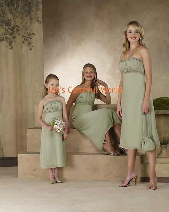Kiwi Tea-length Chiffon Bridesmaid Dress/Evening Dress/Home Coming