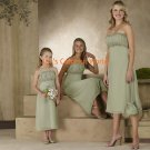 Kiwi Tea-length Chiffon Bridesmaid Dress/Evening Dress/Home Coming
