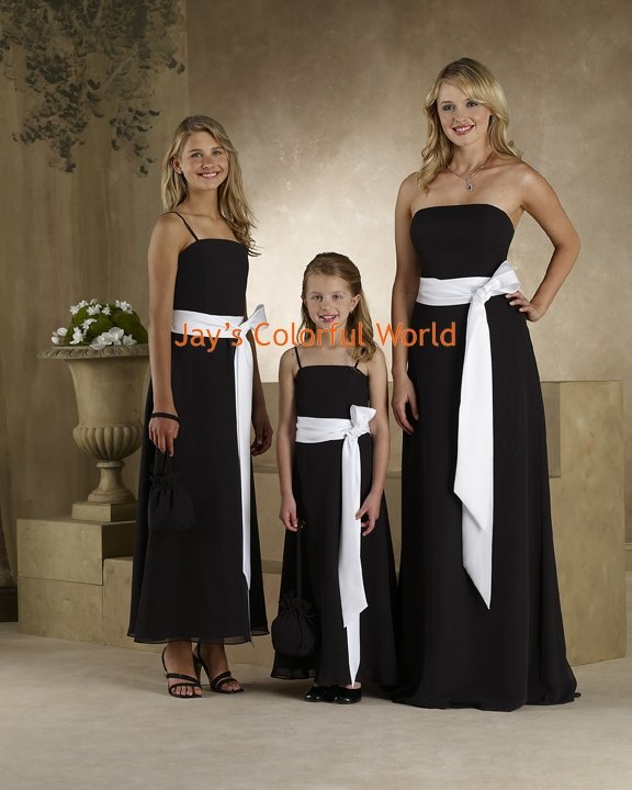 Black and White Straight Neckline Chiffon Bridesmaid Dress/Evening Dress/Home Coming
