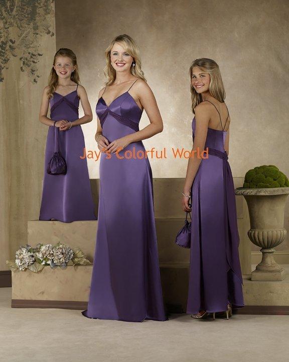 Floor-length V-neckline Spaghetti Strap Chiffon Bridesmaid Dress/Evening Dress/Home Coming