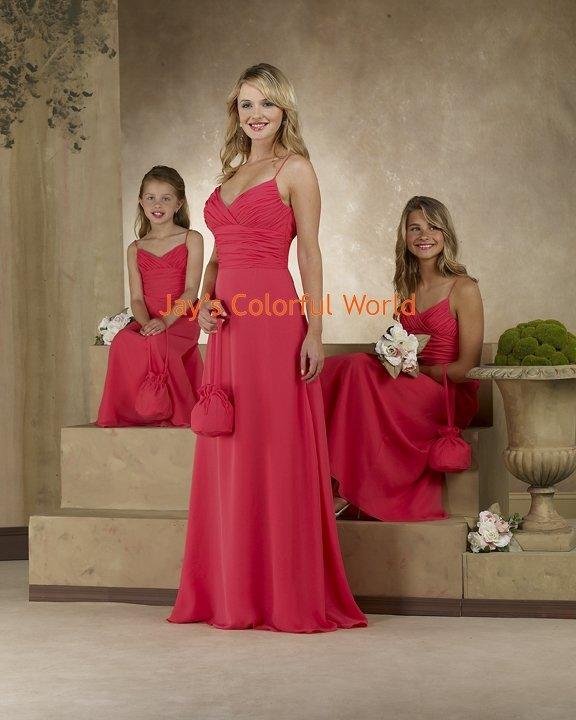 Red Floor-length V-neckline Spaghetti Strap Bridesmaid Dress/Evening Dress/Home Coming