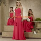 Red Floor-length V-neckline Spaghetti Strap Bridesmaid Dress/Evening Dress/Home Coming