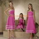 Pink T-length Strapless or Spaghetti Strap Bridesmaid Dress/Evening Dress/Home Coming