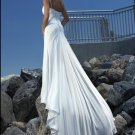 One Shoulder Straight Neckline Beaded Chiffon Custom made Wedding Dress