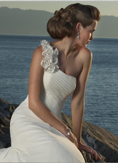 Detachable Shoulder Beaded Chiffon Custom-made Wedding Dress