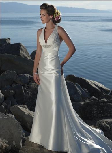 Deep V-neckline Beaded Stretch satin Custom-made Wedding Dress