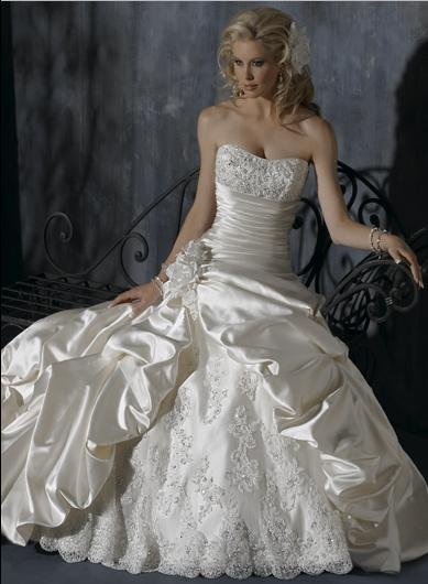 Ball Scoop Neckline Strapless Appliqued Beaded Taffeta Custom-made Wedding Dress