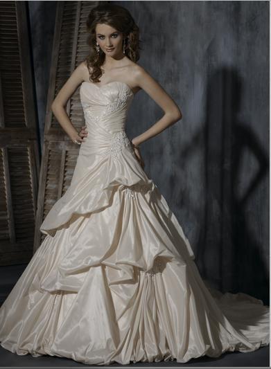 A-line Sweetheart Neckline Strapless Appliqued Beaded Taffeta Custom-made Wedding Dress