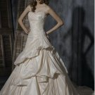 A-line Sweetheart Neckline Strapless Appliqued Beaded Taffeta Custom-made Wedding Dress