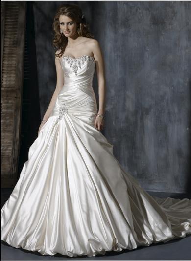 Sweetheart Neckline Strapless Lace-up Appliqued Beaded Taffeta Custom-made Wedding Dress
