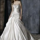 Sweetheart Neckline Strapless Lace-up Appliqued Beaded Taffeta Custom-made Wedding Dress