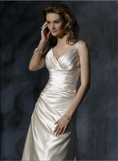 V-neckline Lace-up Taffeta Custom-made Wedding Dress