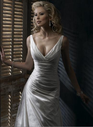 Sexy Deep V-neckline with Sweep Train Taffeta Custom-made Wedding Dress