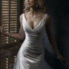 Sexy Deep V-neckline with Sweep Train Taffeta Custom-made Wedding Dress